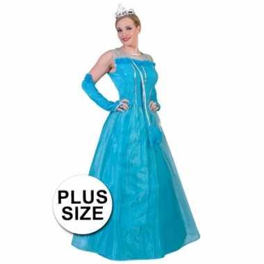 Grote maten blauwe prinsessenjurk voor volwassenen