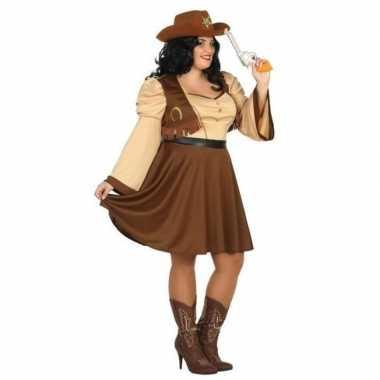 Grote maten cowgirl/western verkleed jurkje voor dames