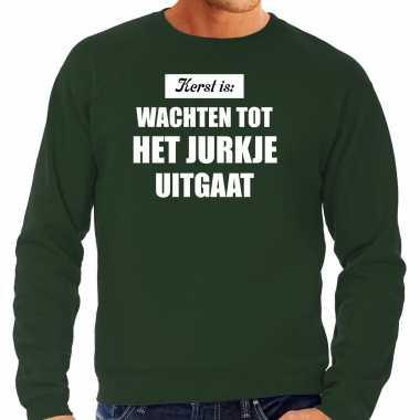 Grote maten kerst is: wachten tot het jurkje uitgaat kerst sweater / kerst outfit groen voor heren