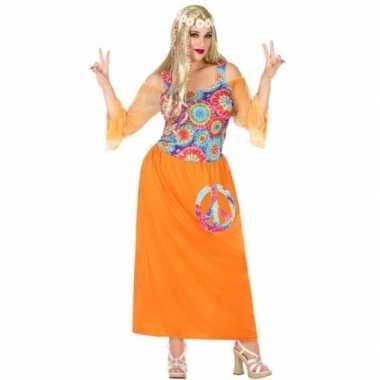 Grote maten oranje hippie/flower power verkleed jurk voor dames