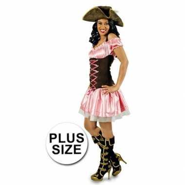 Grote maten roze dames piratenjurk