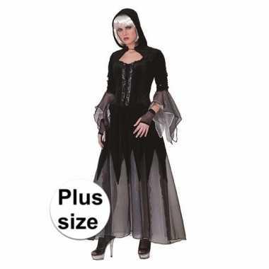 Halloween grote maten vampieren jurk zwart grijs