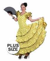 Grote maten spaanse flamencojurk geel met zwarte stippen